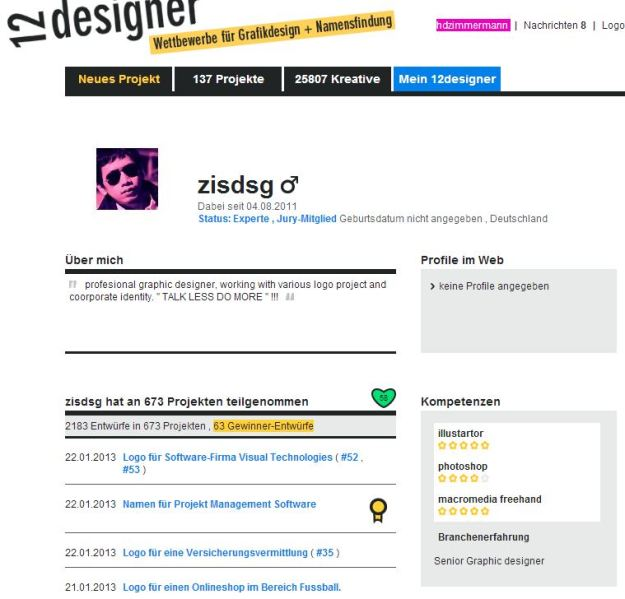 Das Profil des Designers zisdsg bei 12designer.de (Quelle 12.designer.de, 22.1.2013)