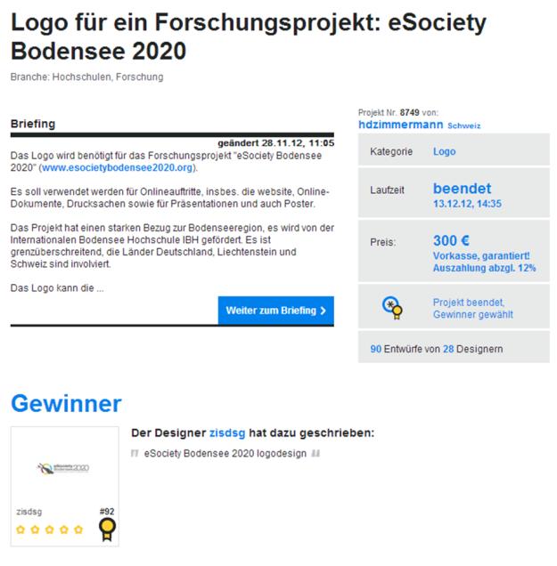 Projektübersicht: Logo für ein Forschungsprojekt: eSociety Bodensee 2020 (Quelle: 12designer.de)